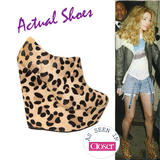 Leopard Print Wedge Ankle Boot